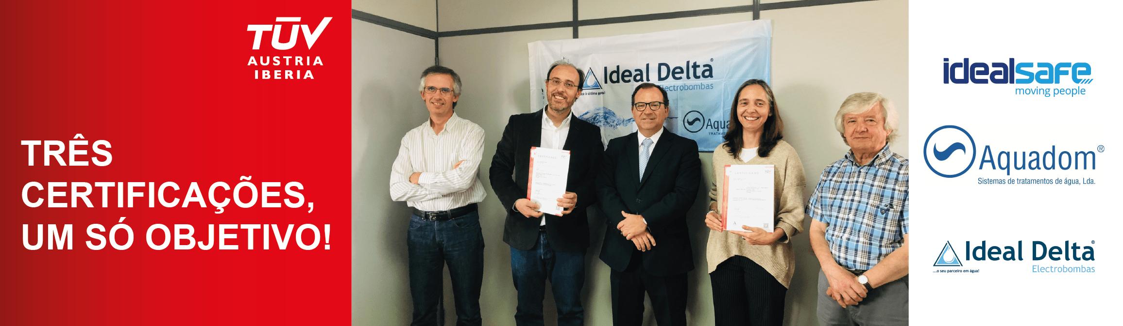 Banner Ideal Delta, Aquadom e Idealsafe: Três certificações, um só objetivo!