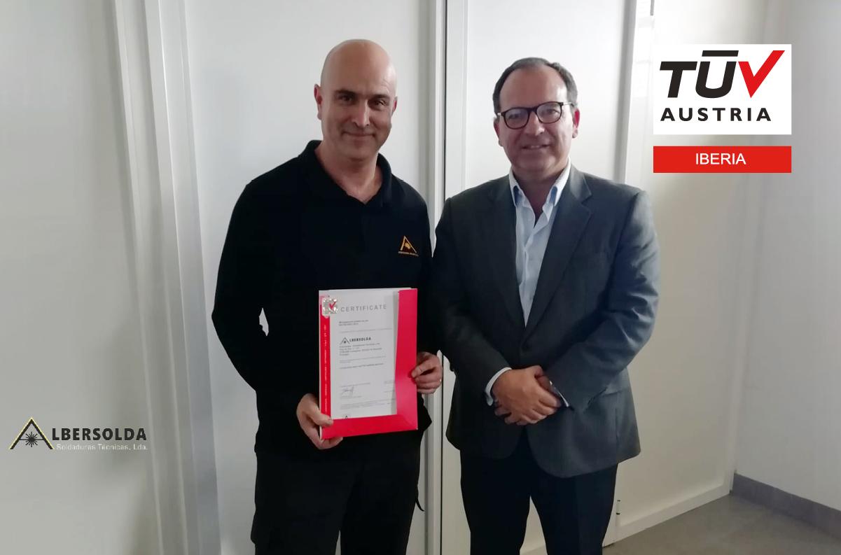 Banner Entrega de certificado ISO 9001:2015 à ALBERSOLDA