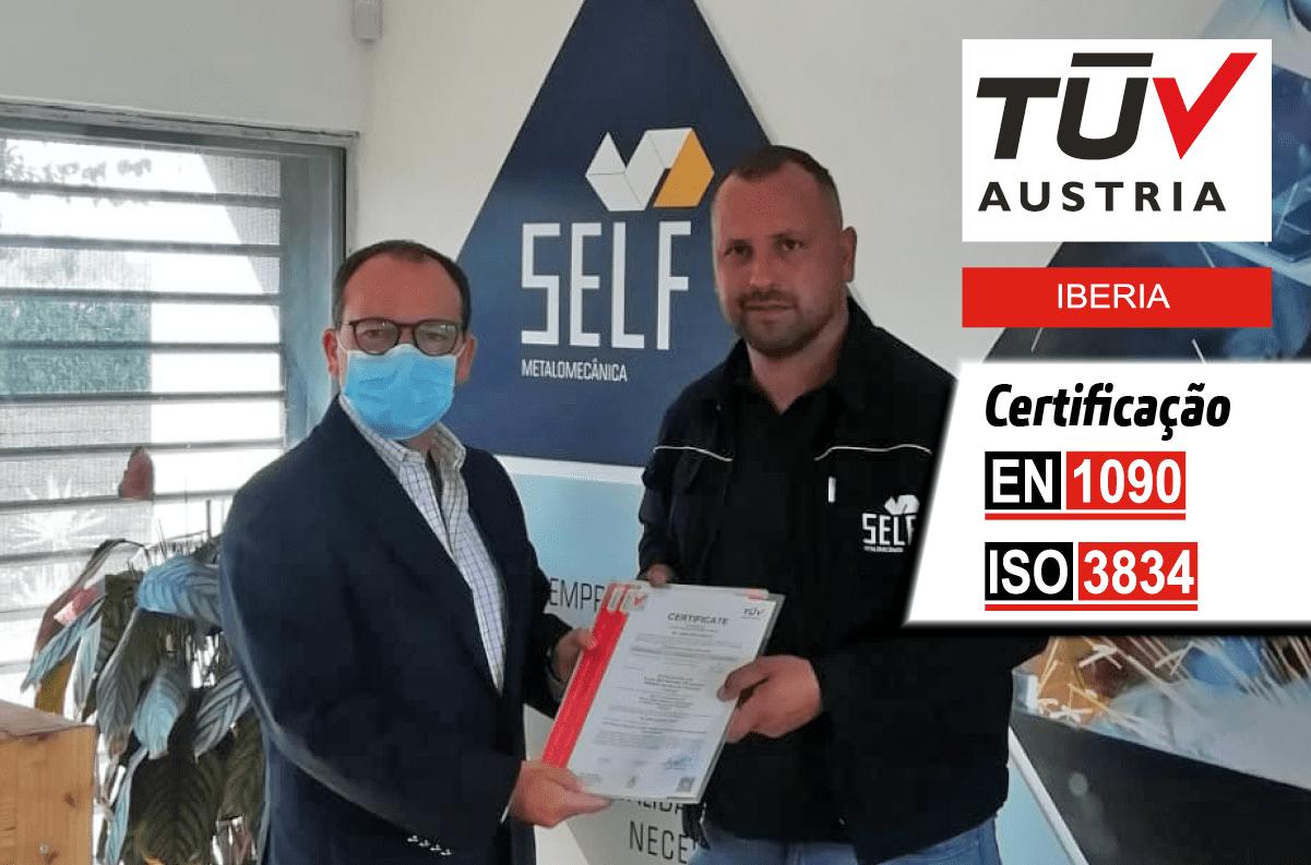 Banner Entrega dos certificados EN 1090 e ISO 3834 à SELF UNIPESSOAL, LDA.