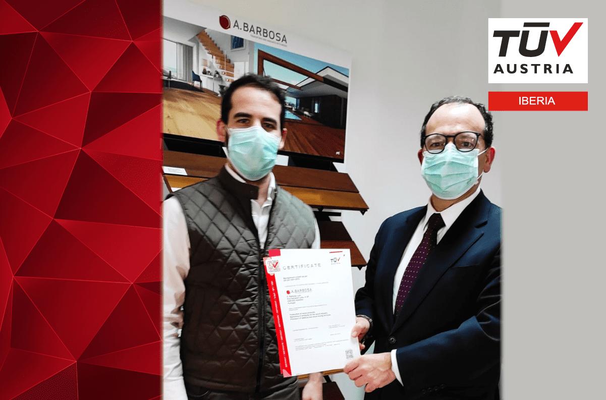 Banner Entregamos o certificado TÜV AUSTRIA ISO 9001:2015 à A. BARBOSA, Lda.