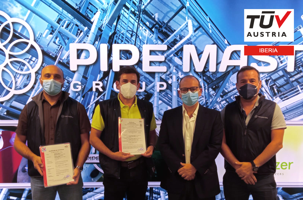 Banner Entrega dos certificados EN 1090 e ISO 3834 à Pipe Masters