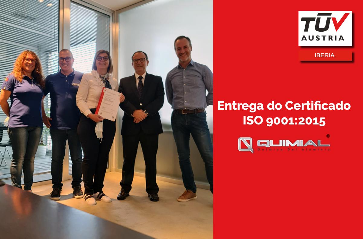 Banner Entrega do Certificado ISO 9001:2015 à empresa Quimial